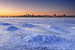 Beautiful winter landscape with frozen river at Dusk II