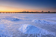 Beautiful winter landscape with frozen river at Dusk I