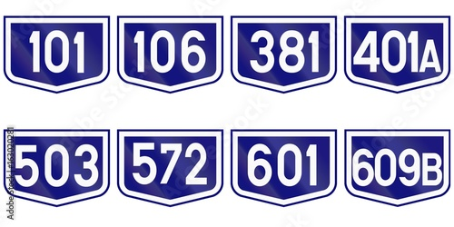 Fotografia  Collection of Road markers for County roads in Romania