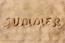 Word Summer In The Sand Of A Beach