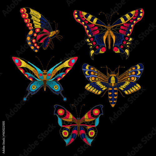 Fototapeta Butterfly vector embroidery for textile design