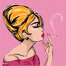 Retro Fashion Woman Smoking Ci...