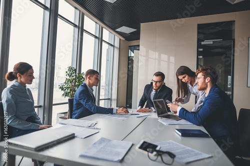 Fototapeta View of a Boss heading a business reunion with partners obraz na płótnie