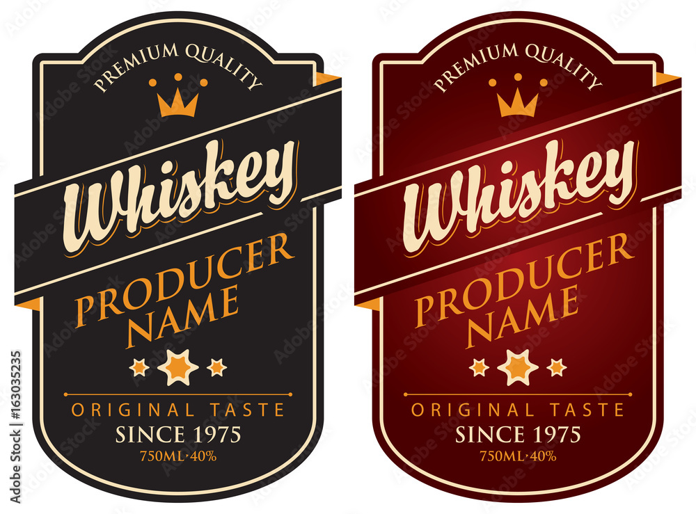 Fototapeta Vector set of two labels for whiskey in the curly frame with crown and inscription on dark background in retro style