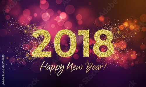 Fotografia, Obraz  2018 Happy New Year Background texture with glitter fireworks