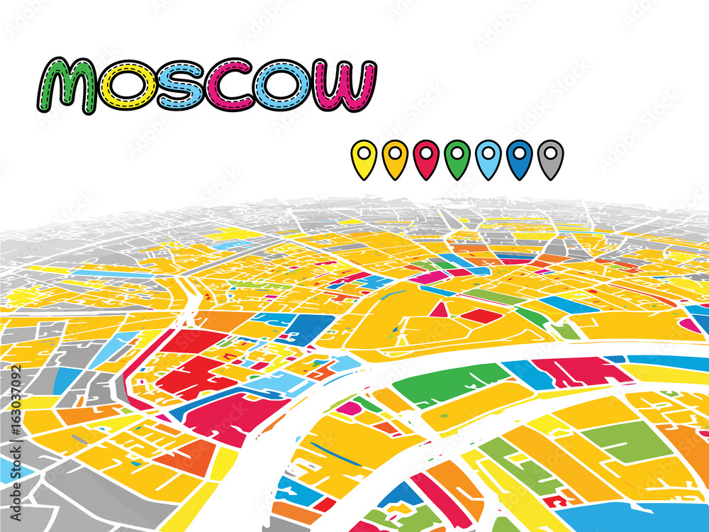 Moscow, Russia, Downtown 3D Vector Map Foto, Poster ...