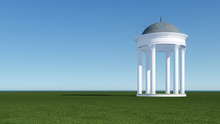 3d Render From Imagine Classic Roman Arbor In Park Clear Sky