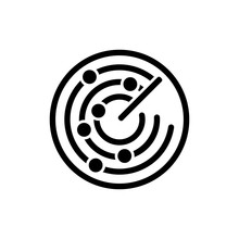The Radar Icon. Scanner And Sonar, Gps, Navigation Symbol. Flat Vector Illustration