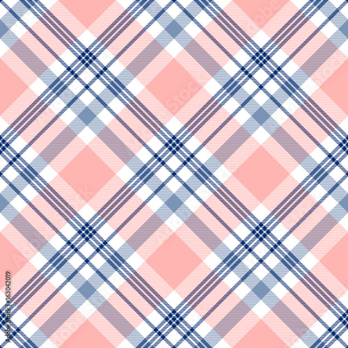 Checkered Fabric Texture Print In Dark Navy Blue White And Light Grayish Stripes On Pale Pinkish Peach Red Background