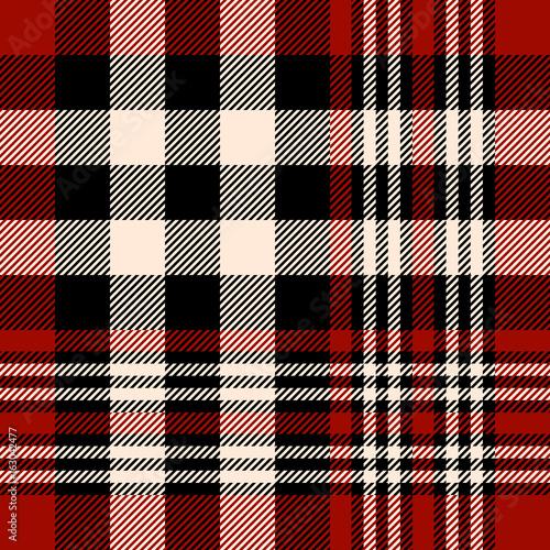 Seamless Tartan Plaid Pattern Checkered Fabric Texture Print In