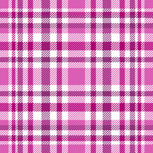 Seamless Tartan Plaid Pattern. Checkered Fabric Texture Print In Stripes Of Pink, Amaranth Purple, Dark Magenta And White.