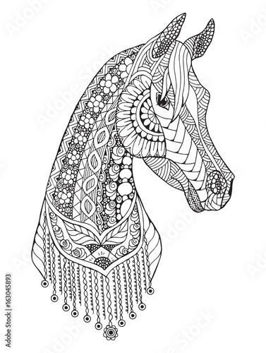 Arabian horse zentangle stylized vector illustration - Mandala de chevaux ...