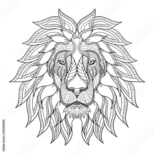 Fototapeta premium Zentangle głowa lwa, doodle stylizowane, wektor, ilustracja, wyciągnąć rękę, wzór. Sztuka Zen. Czarno-biały ilustracja na białym tle. Grafika liniowa.