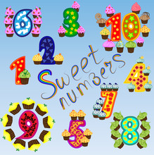 A Set Of Bright Figures For Children From One To Ten, A Score Of Sweets, Cupcakes. A Set Of Sweet Numbers. Rainbow, Poster For Preschoolers