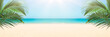 canvas print picture - Sunny tropical beach panorama, turquoise Caribbean sea with palm trees