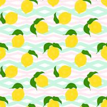 Seamless  Floral Pattern With Lemon Fruit On A Zig Zag, Chevron Geometric Trendy Background