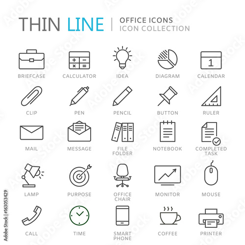 Fotografía  Collection of office thin line icons
