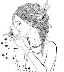 Naklejka Beautiful Girl With butterfly