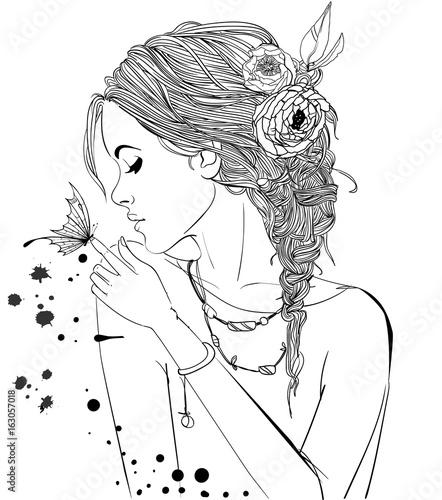 Obraz Piękna Dziewczyna Z Motylem Na Palcu I Kwiatami We Włosach Szkic Biało Czarny 163057018 Obrazy Młodzieżowe Picturewall Pl