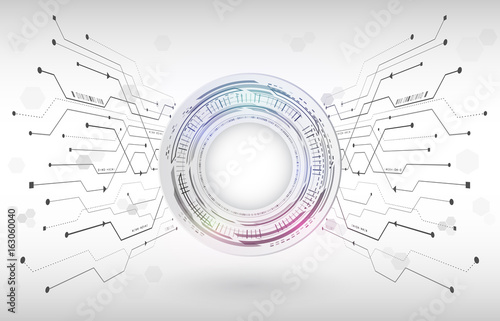Technology Background With Circular Mesh: Abstract Digital Hi Tech Technology Concept. Radial