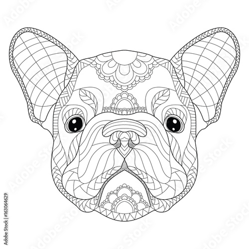 French Bulldog Puppy Head Zentangle Stylized Vector Illustration Freehand Pencil Pattern Zen Art Black And White Illustration On White Background Adult Anti Stress Coloring Book Stock Vector Adobe Stock