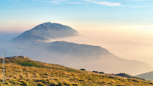 Sunset over Hazy Mountain (Monte Baldo, Garda Lake, Italy) Canvas Print