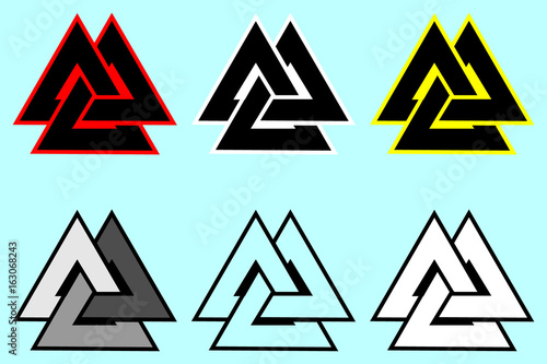 Valknut  symbol, Triangle logo, Viking Age symbol, Color set Poster