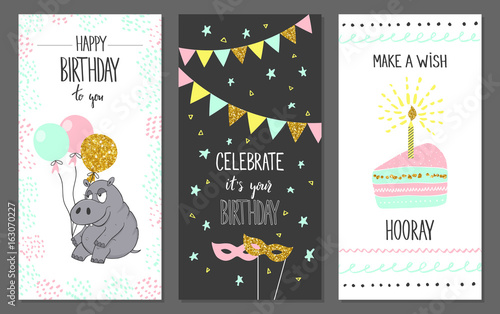 Photo  Happy birthday greeting cards and party invitation templates, vector illustration