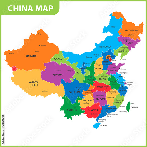 China Map States Cities on