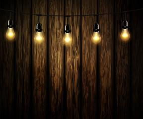 light bulbs with glowing light