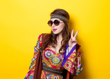 Young Hippie Girl With Sunglas...