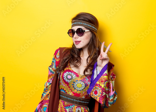 Young hippie girl with sunglasses Canvas Print