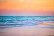 canvas print picture - Amazing beautiful sunset on an exotic caribbean seashore