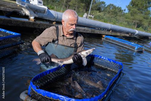 Photo fishermen and the fish farm