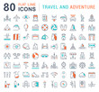 Set Vector Flat Line Icons Travel and Adventure