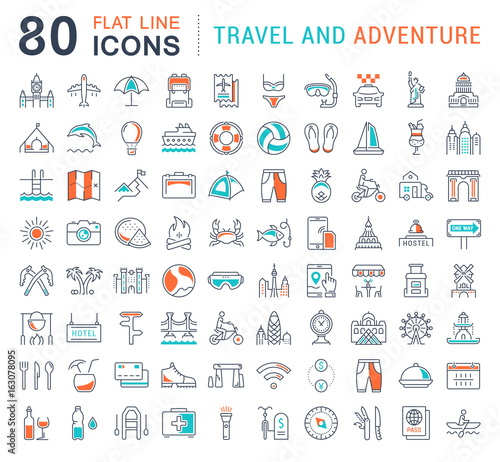 Set Vector Flat Line Icons Travel and Adventure Wall mural