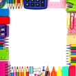 Back to School school supplies square frame against a white background