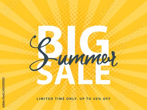 Fotografía  Big Summer Sale sign with retro pop art halftone background