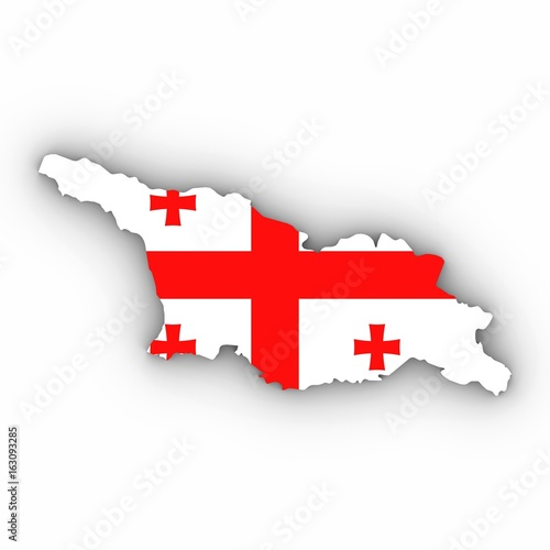 Outline Of Georgia Map.Georgia Map Outline With Georgian Flag On White With Shadows 3d