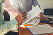 Business and finance concept of office working, Businessmen discussing analysis chart, Vintage effect