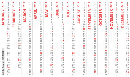 Fototapeta calendar 2018 with vertical design, vector calendar starts and selected sunday obraz na płótnie