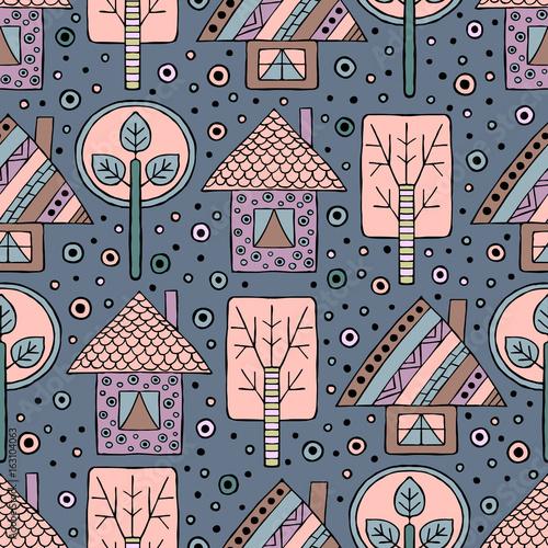 wektor-recznie-rysowane-bez-szwu-wzor-dekoracyjne-stylizowane-dziecinne-drzewa-dom-doodle-styl-plemiennych-ilustracji-graficznych-ozdobne