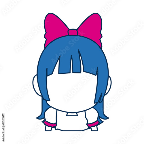 chibi anime girl face blue hair glasses Poster
