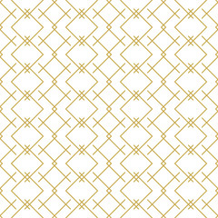 FototapetaStylish linear geometric seamless vector pattern in gold