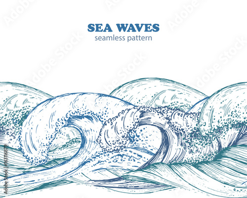 Seamless border pattern with hand drawn sea waves