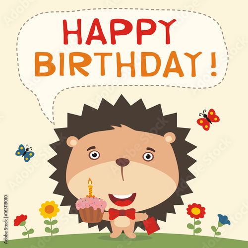 Happy Birthday Funny Hedgehog With Cake And Gift Card In