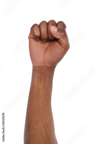 Canvastavla Male black fist isolated on white background