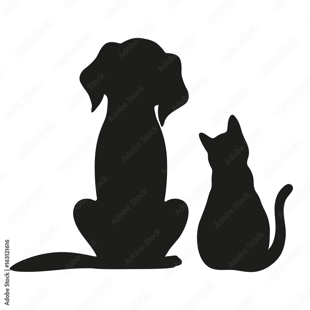 Fototapety, obrazy: Silhouette of cat and dog on white background