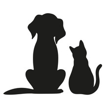 Silhouette Of Cat And Dog On W...