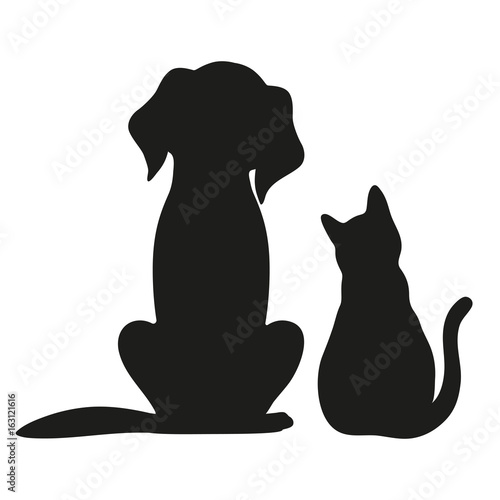 Silhouette of cat and dog o...